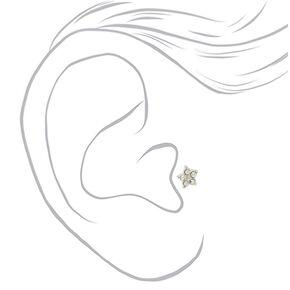 Sterling Silver Crystal Flower Tragus Earrings - 3 Pack,
