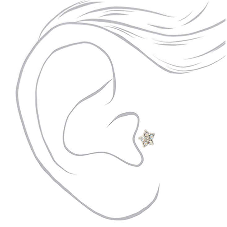Sterling Silver Crystal Flower Tragus Earrings - 3 Pack,