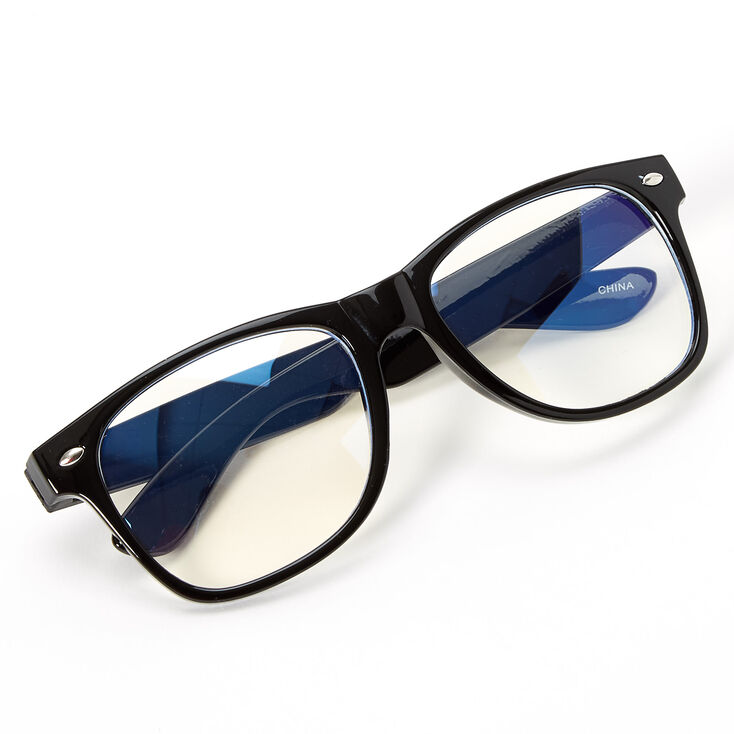 Blue Light Reducing Retro Clear Lens Frames - Black,
