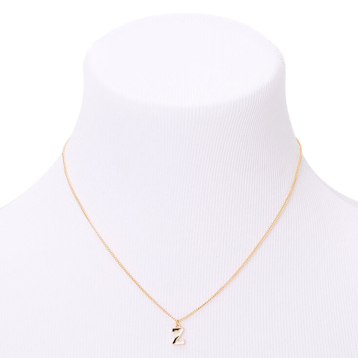 Gold Striped Initial Pendant Necklace - Z,