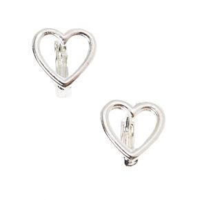 Silver 10MM Heart Hoop Earrings,