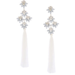 "5"" Tassel Crystal Clip On Drop Earrings - White,"