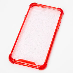 Clear Red Glitter Protective Phone Case - Fits iPhone 6/7/8/SE,