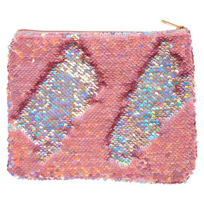 Reverse Sequin Makeup Bag - Pink,