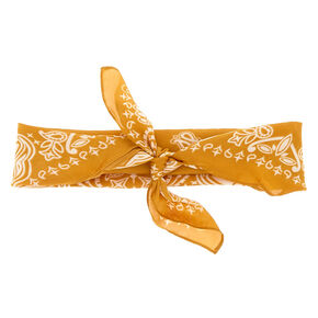 Silky Paisley Knotted Bandana Headwrap - Mustard,