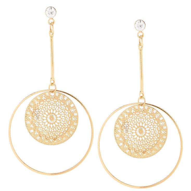 Gold Filigree Circle Drop Earrings,