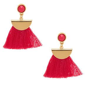 Pink Tassel Drop Earrings,