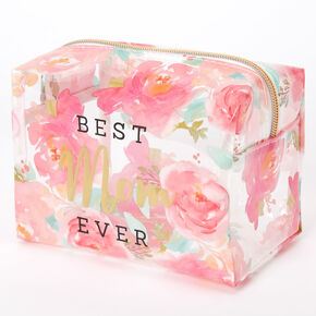 Best Mom Ever Floral Roses Makeup Bag - Pink,