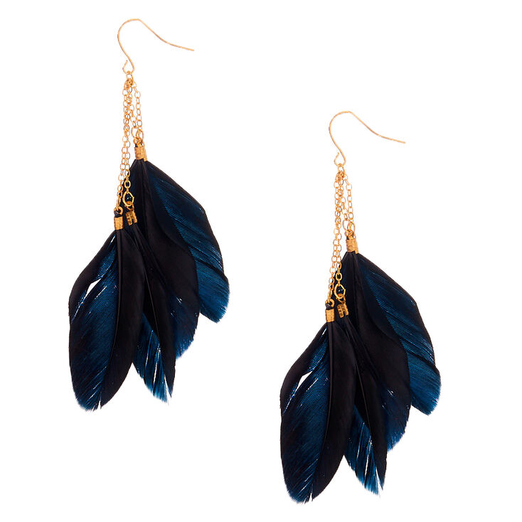 """Gold 3.5"""" Chain Feather Drop Earrings - Black,"""