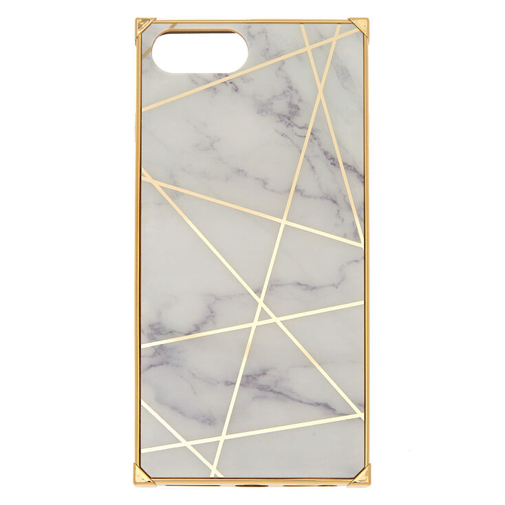 White Marble Geometric Square Phone Case - Gold,