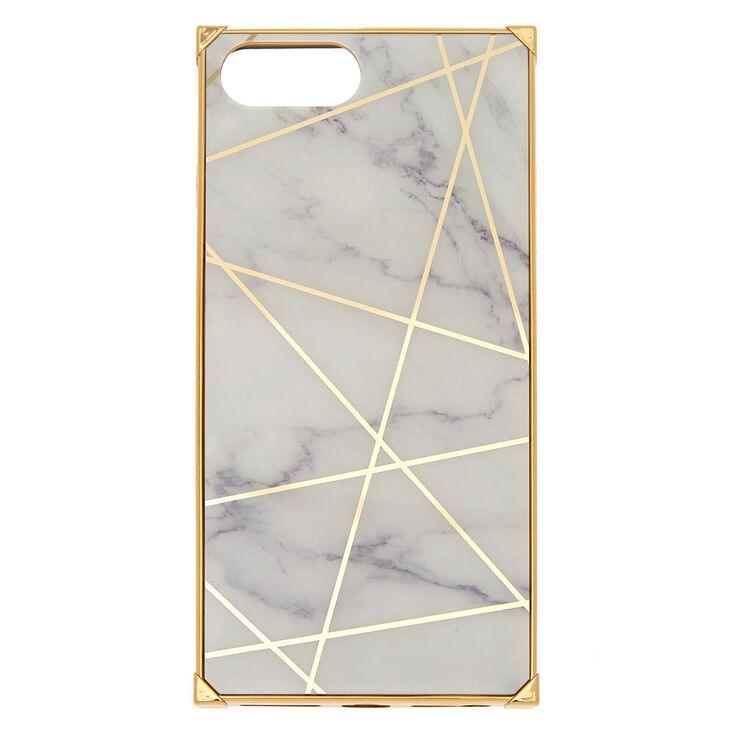 White Marble Geometric Square Phone Case - Fits iPhone 6/7/8 Plus,