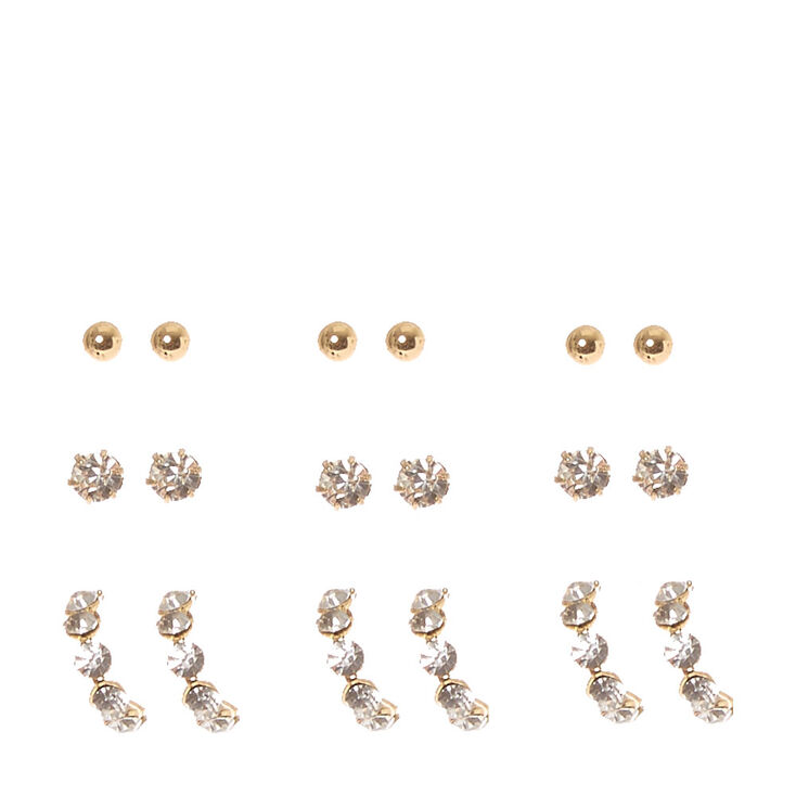 Gold Tone & Crystal Stud & Half-Hoop Earrings,