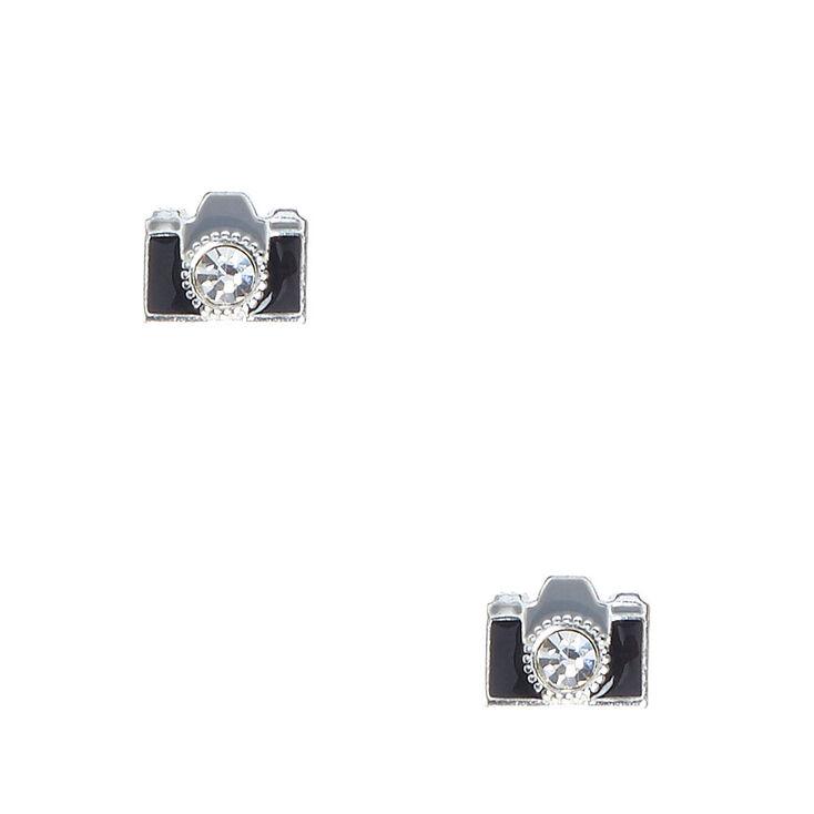 Sterling Silver Camera Stud Earrings,