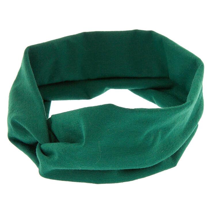 Wide Jersey Twisted Headwrap - Hunter Green,