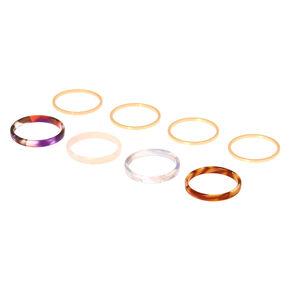 Tortoiseshell Rings - 8 Pack,
