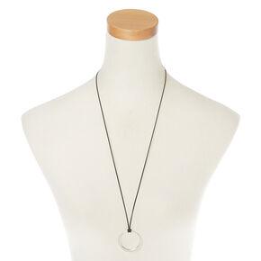 Silver Circle Long Pendant Necklace,