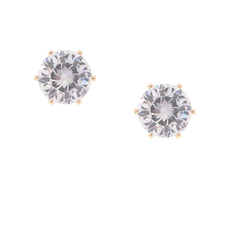 Gold 7MM Cubic Zirconia Brilliant Cut Stud Earrings,