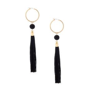 """Tassel 6"""" Drop Earrings - Black,"""
