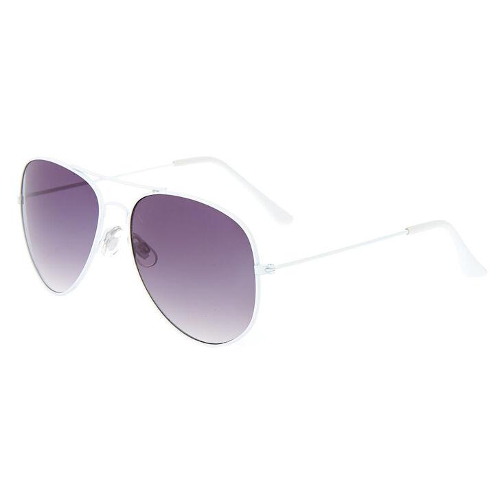 Aviator Sunglasses - White,