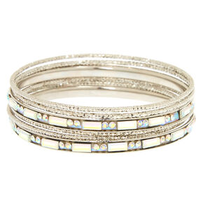 Silver Holographic Crystal Bangle Set,