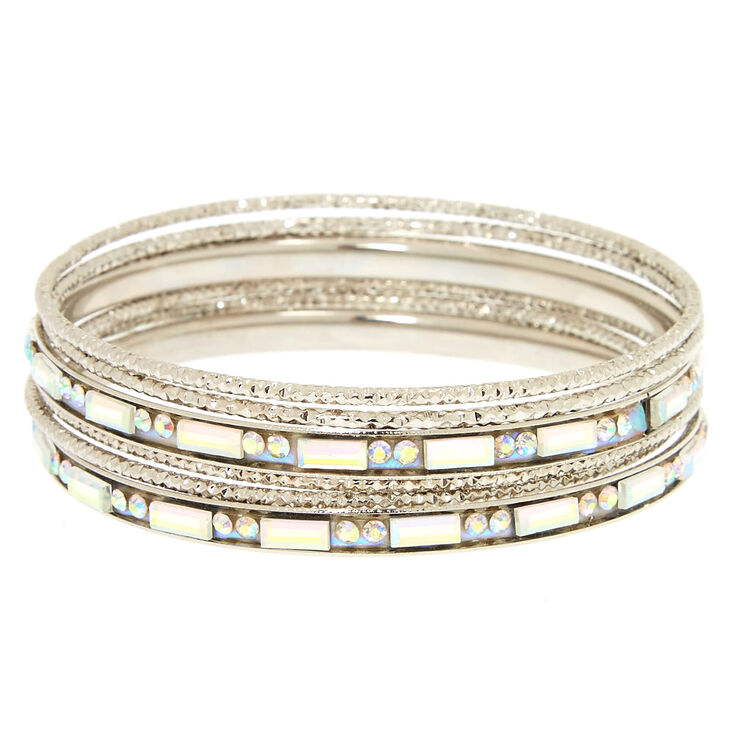 Silver Holographic Crystal Bangle Set