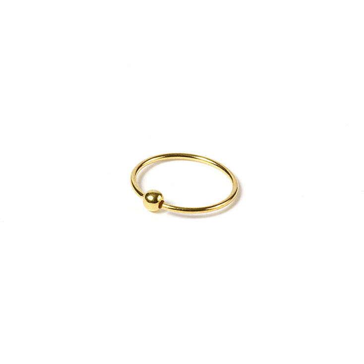 Sterling Silver 20G Gold Beaded Hoop Nose Ring,