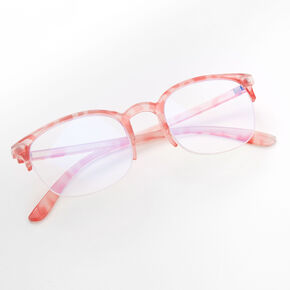 Blue Light Reducing Round Tortoiseshell Browline Clear Lens Frames - Pink,