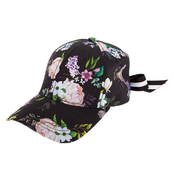 Floral Bow Baseball Cap - Black,