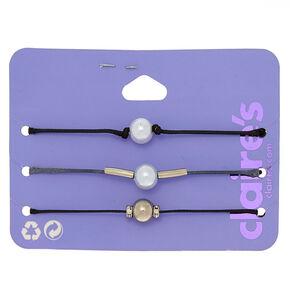 Pearl Cord Adjustable Bracelets - Black, 3 Pack,