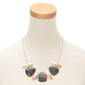 Gold Patina Pebble Statement Necklace,
