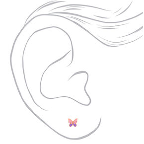 Sterling Silver Pink & Purple Split Butterfly Stud Earrings,