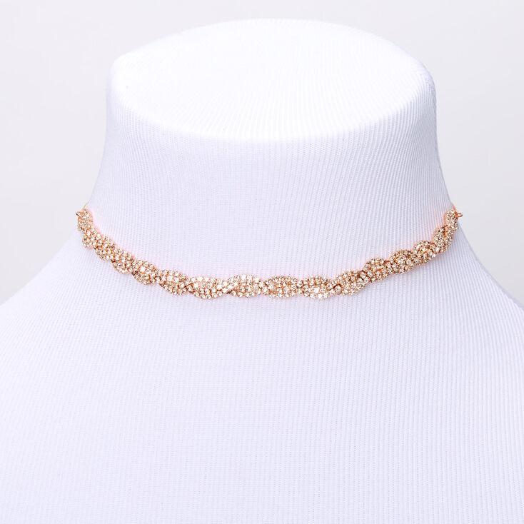 Rose Gold Rhinestone Twisted Choker Necklace,