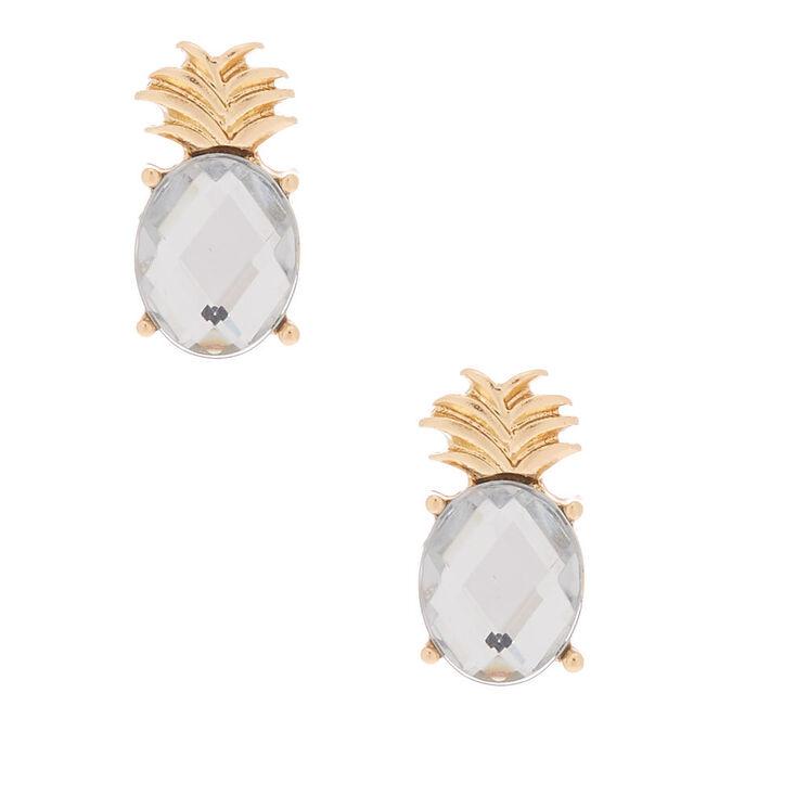 Gold Pineapple Gem Stud Earrings,