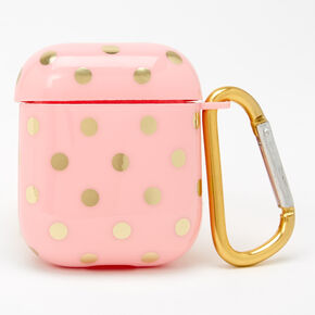 Pink & Gold Polka Dotted Silicone Earbud Case Cover - Compatible with Apple AirPods,