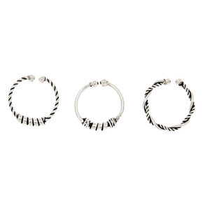 Sterling Silver Textured Faux Nose Rings - 3 Pack,