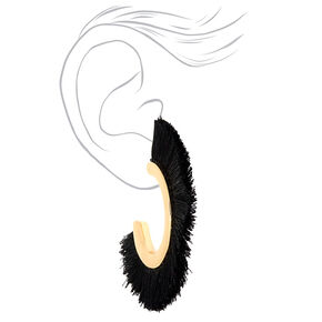 Gold 25MM Tassel Hoop Earrings - Black,