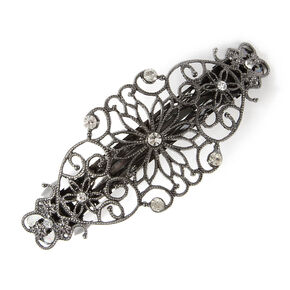 Hematite Flowers & Hearts Filigree Barrette with Rhinestone Accents,