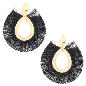 "Gold 4"" Oval Tassel Drop Earrings - Black,"