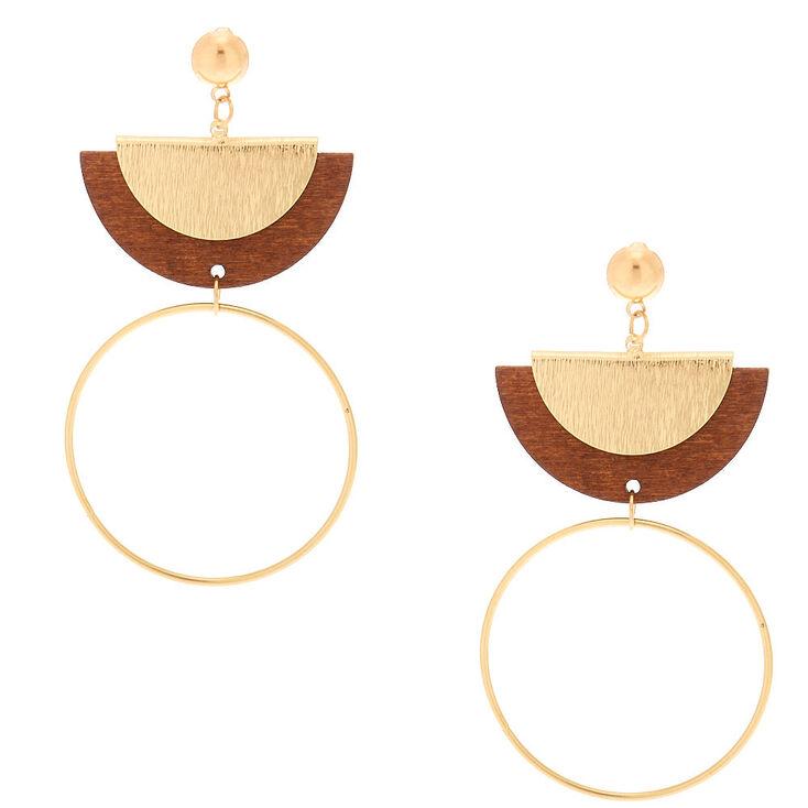 """Gold 3"""" Wooden Half Moon Drop Earrings,"""