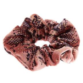 Snakeskin Velvet Hair Scrunchie - Pink,