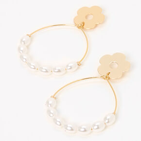 "Gold 2.5"" Daisy Pearl Teardrop Drop Earrings,"