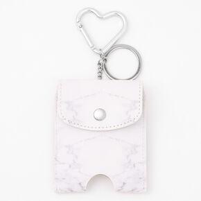 Marble Hand Sanitizer Pouch Keychain- White,