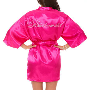 Hot Pink Satin & Crystal Bridesmaid Robe - S,