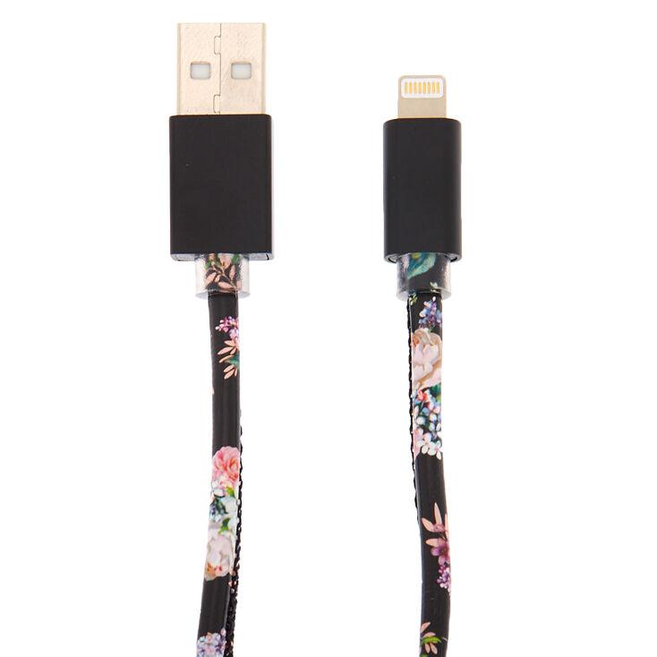 Floral USB Cord - Black,