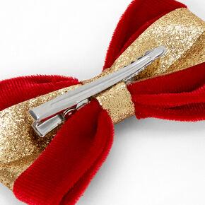 Gold Glitter Velvet Hair Bow Clip - Red,