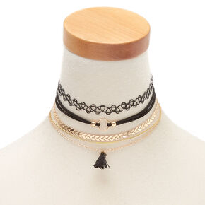 Gold Mixed Choker Necklaces - Black, 5 Pack,