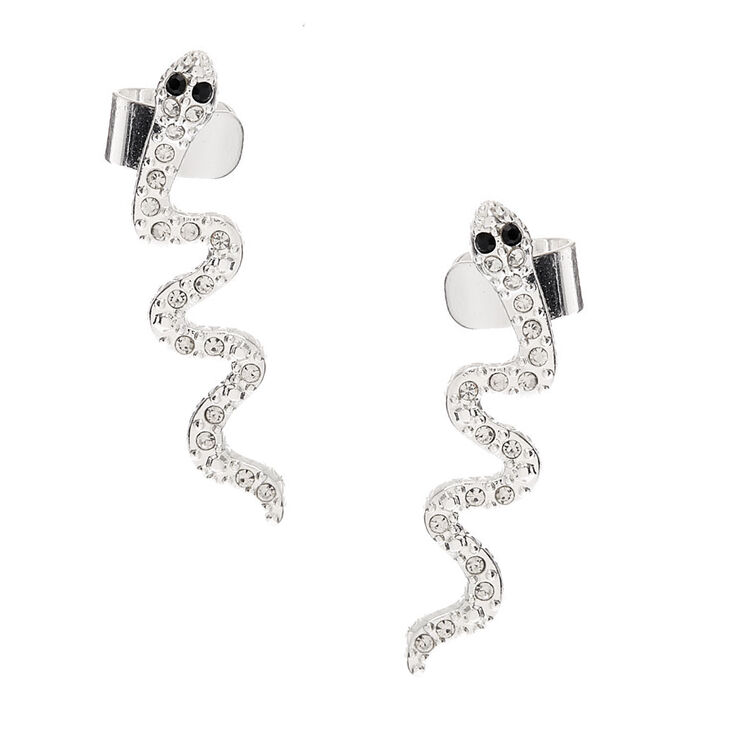 Silver Snake Connector Earring,