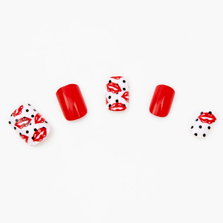 Polka Dot Lips Press On Faux Nail Set - 24 Pack,