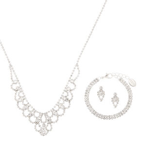 Silver Rhinestone Princess Jewelry Set - 3 Pack,