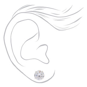 Sterling Silver Cubic Zirconia Graduated Round Stud Earrings - 3 Pack,